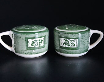 Green and White Salt Pepper Shakers Green Transferware Colonial Homestead Pattern