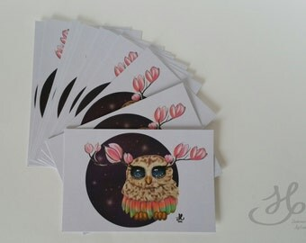 Postcard A6 fantasy Owl and flower print