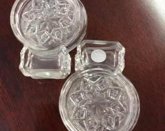 Six Crystal Coasters and cigarette holder