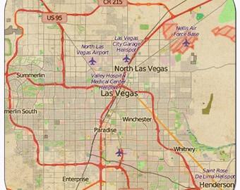 Las Vegas 2 Vintage Map Coasters