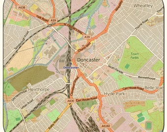 Doncaster Vintage Map Coasters & other merchandise