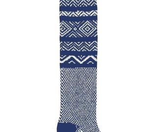 Navy Knee High Socks Scandinavian Pattern