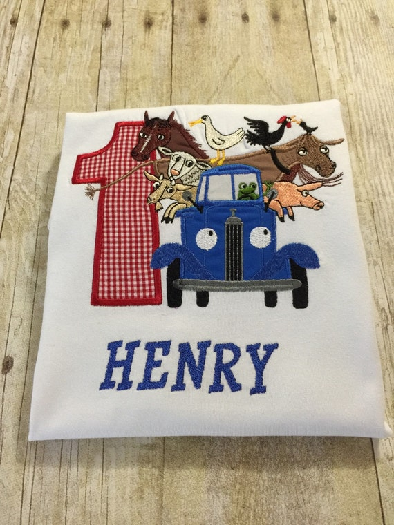 Little blue truck personalized shirt for Little blue truck fabric