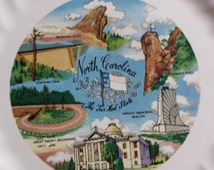 North Carolina Souvenir Plate, Travel Souvenir,North Carolina,Collector's Plate,Smokey Mountains,Travel Momento,Vacation,State Collectible