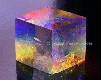 Optical Calcite Photo, Iceland Spar Viking Sunstone, Crown Chakra Healing Crystals and Stones, Rainbow Prisms Energy Prints, Spiritual Photo