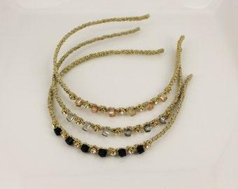 thin skinny gold headband square crystals clear gem hair band accessory head band narrow sparkly