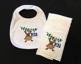 Personalized monkey bib or burp cloth
