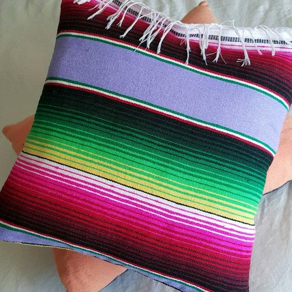 Handmade Lavebder With Bright Stripes Fringe Serape Pillow