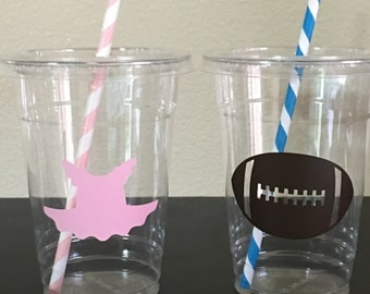 Tutu or touchdown gender reveal party cups