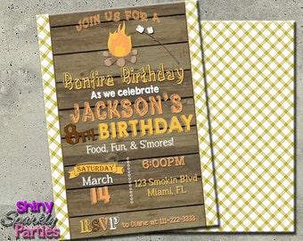 BONFIRE BIRTHDAY INVITATION - Bonfire Invitation - Camp In Invitation - Camp Out Invitation - Bonfire Party Invite - Outdoor Birthday Invite