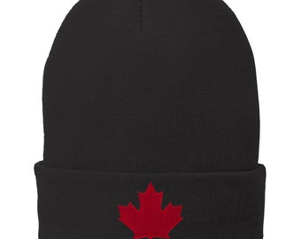 Canada Maple Leaf Embroidered Winter Cuff Long Beanie - Red Flag - 3 Colors