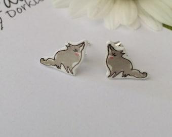 Little Grey Fox Earrings
