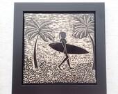 Ceramic Art Tile - Wall Tile - Framed Tile - Sgraffito Tile - Carved Tile - Black & White - Surfer Girl #3 Tile