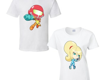 Metroid - Samus or Zero Suit Samus - Choose a Character - Cute White T-Shirt