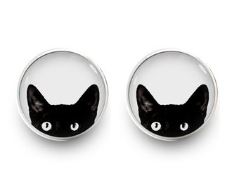 Peeking Cat Earrings Black Cat Stud Jewelry (with jewelry box)