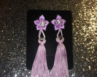 Breakfast At Tiffany's inspired Tassel Ear Plugs or Earrings in Any color listed handcrafted (One Pair )