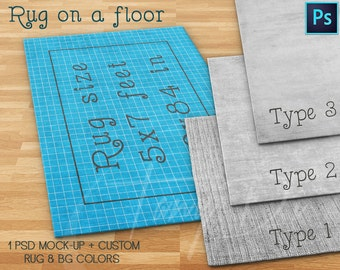 Rug area 5x7 ft on a wooden floor, Rug 60x84in, 3 Rug types, Rug Display Mockups PSD users only, Custom rug and background colors, 152x214cm