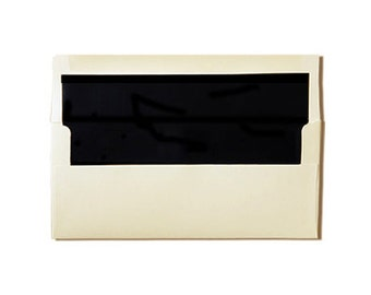 20 Tea Length or #10 Cream with Black Lined Envelopes