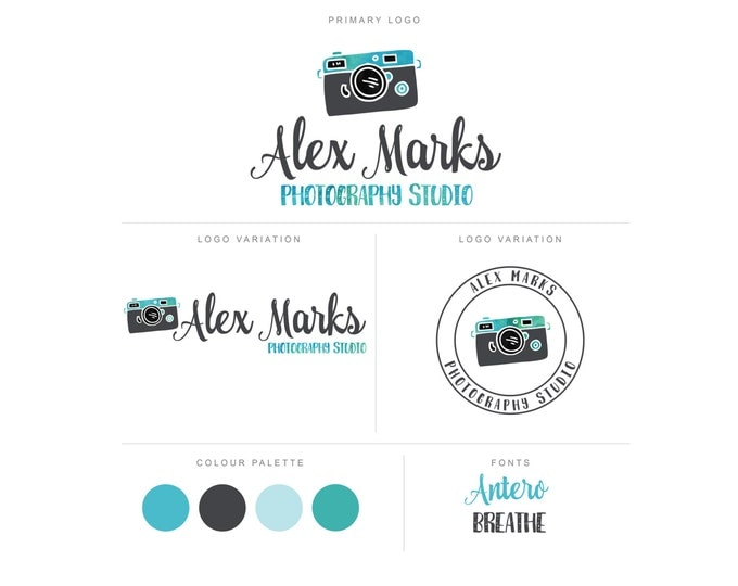 Branding Package - Photography Logo and Watermark - Cute Font Script - Logo Design - Watermark - Premade Marketing Kit - BPL03