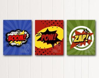 boom pow zap boy wall decor instant download printable poster art