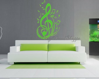 Music Symbols Wall Decal, Large Wall Decal, Music Room Decor, Treble Clef, Part 84