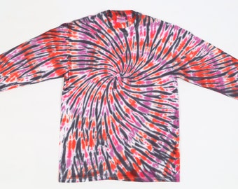 Handmade Spiral Tie Dye, Adult  M 38-40 T Shirt, Red, Violet, Black, OOAK, 100% Cotton, Beefy Weight, Long Sleeves.