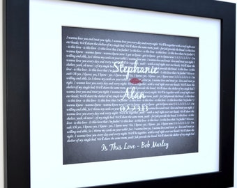 Song lyric art custom wedding gift: personalized anniversary present wedding vows keepsake print unique anniversary gift for bride and groom