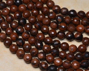 """Natural Mahogany Obsidian 10 mm faceted round bead 15"""" strand (#J1089)"""