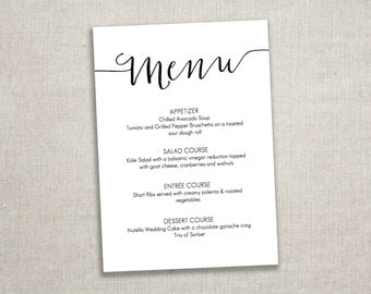 Gold Menu Download/ Calligraphy style script/ by GraceDesignsDIY