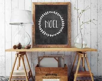 Noel, Christmas Printable Download Chalkboard Art Prints, Christmas Gift Ideas, Christmas Chalkboard Sign, DIGITAL DOWNLOAD