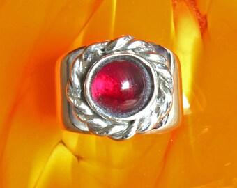Silver Ring - Garnet RIng - Handmade Sterling Silver Band - Celtic Statement Ring - Birthstone Ring