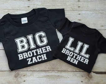 Personalized big brother, little brother shirts, sibling shirt, matching shirt set for boys, black sibling shirts, matching shirt set