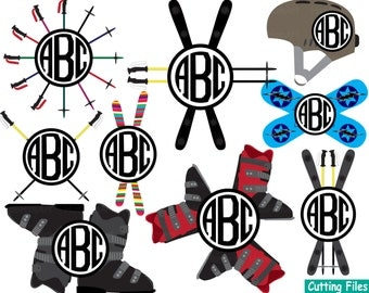 Set of skiing and snowboarding ski ice Monogram Cutting files svg dxf eps png Vinyl cut Clip Art clipart Design Instant Commercial use -46S