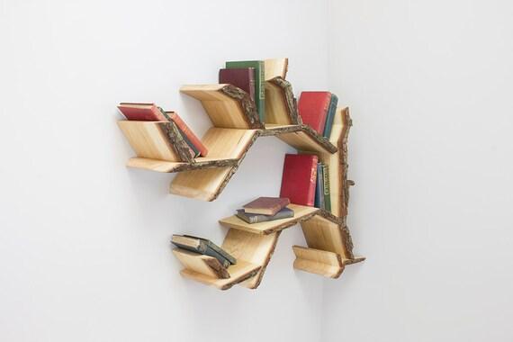 Tree Branch Book Shelf: Mini Oak Tree Branch Shelf 1.0m Wide Made To Order In Solid