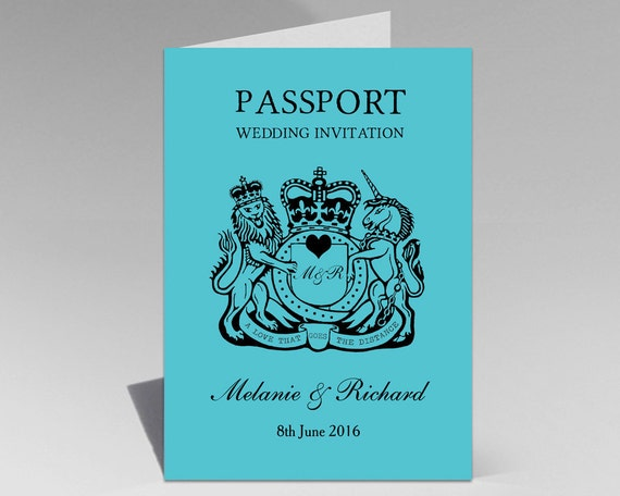 When To Send Out Wedding Invitations For Destination Wedding: Turquoise Teal Aqua Passport Destination Wedding Invitation