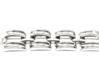 Modern Chunky Link Bracelet, Vintage, Silver Tone Molded Links, Minimalist , Statement Bracelet, 1970s