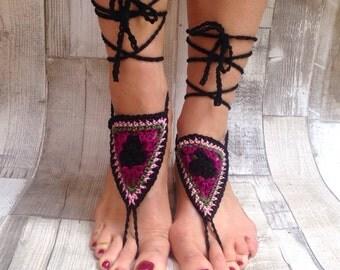 Barefoot sandals, crochet sandals, barefoot crochet sandals ,hippie, barefoot, festival, yoga,hula hooping,hippy barefoot sandals