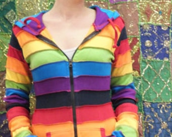 Colourful Bright Rainbow Multicolour Hoodies Pixie Hood Hippy Boho Funky L XL