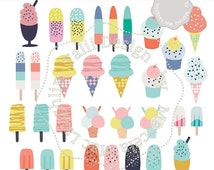 50 OFF Ice Cream Clip Art HANDDRAWN Clipart Ice Cream Cones & Ice Pops- 32 digital summer graphics sprinkle and fruit ice pops milk sh