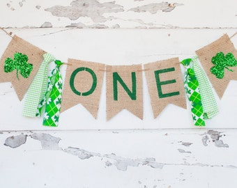 Clover One Banner, Irish One Burlap Banner, St Patrick's Day Birthday Banner, St. Patrick's 1st Birthday Farm Party, B269