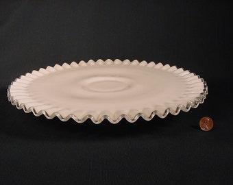 Vintage * White Milk Glass * Silver Crest Cake Plate * Pedestal Dessert Stand * Fenton