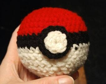 Hand made crocheted pokeball medium size