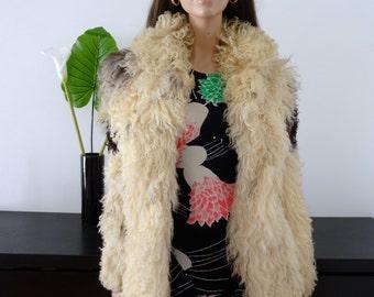 Veste/manteau vintage 70's peau de mouton fourrure taille 38 / uk 10 / us 6
