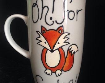 For Fox Sake - tall latte coffee cup/porcelain mug