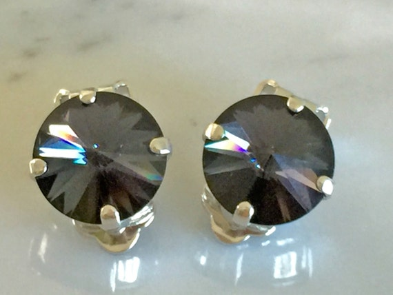 Graphite Crystal Clip On Earrings, Swarovski Graphite Clip On Earrings, Swarovski Gray Clip On Earrings
