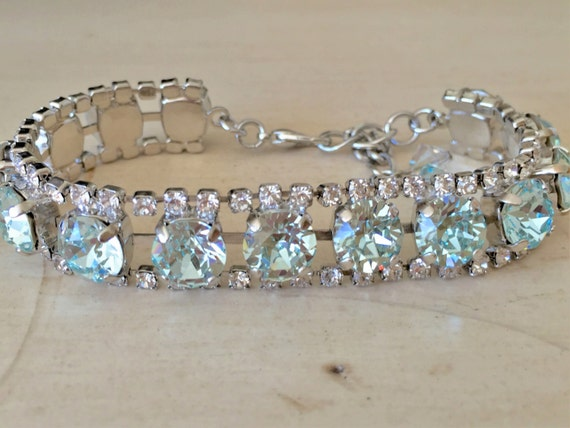 Something Blue Light Azore & Clear Crystal Bridal, Bridesmaid, Cocktail Bracelet