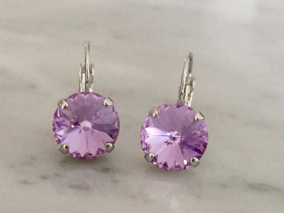 Violet Swarovski Crystal Earrings, Silver