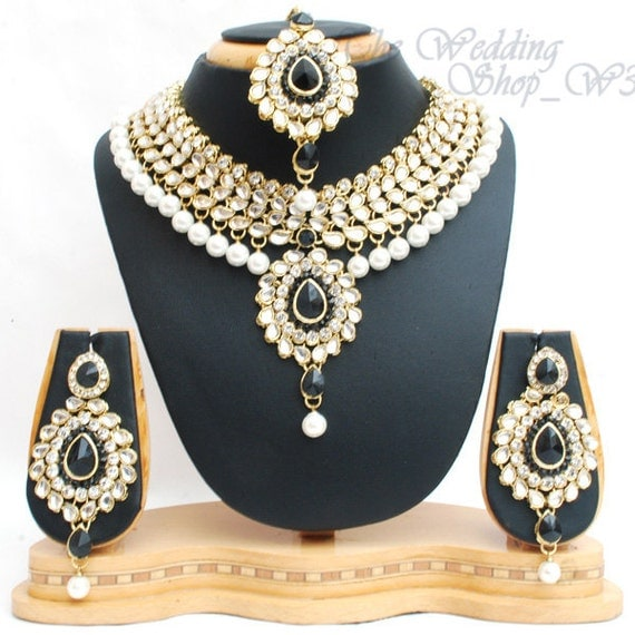 Indian Gold Plated Stones Kundan Necklace Earrings Party: Indian Jewelry Bridal Set Heavy Black Pearl Gold Plated Kundan
