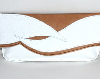 Leather Clutch-Cream-White-Little Bag by LoraLeahter-evening bag-Clutch bag-Leather handbag-Gift for her-Pouch-leather-bag-birthday gift