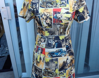 Modern Film Noir Vintage Style print Dress